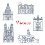 France travel landmarks vector buildings icons. France famous travel landmark buildings and Marseilles architecture sightseeing line icons. Vector set of St Stock Photos