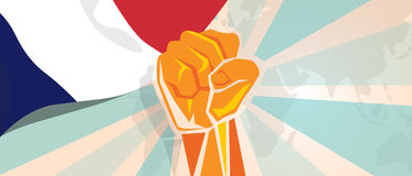 France fight and protest independence struggle rebellion show symbolic strength with hand fist illustration and flag. Vector Royalty Free Stock Image