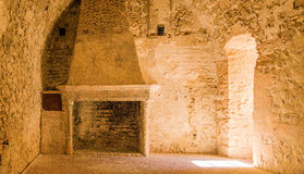 France. Fireplace in one of the chambers of the castle d'If. Royalty Free Stock Photo