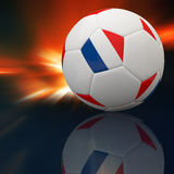 France flag on 3d Football. For Euro 2012 Group D Royalty Free Stock Photography