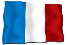 France Flag. Waving flag of France isolated on white stock illustration