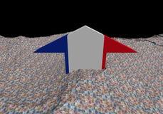 France flag arrow in abstract ocean of Euros. Illustration stock illustration