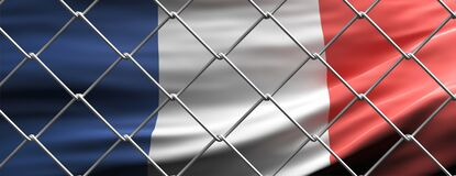 France flag behind steel mesh wire fence. Coronavirus pandemic quarantine, 3d illustration