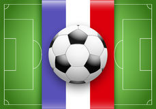 France Flag and Championship of football. Flag of France and ball on football field. Championship of football 2016 Royalty Free Stock Images