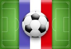 France Flag and Championship of football. Flag of France and ball on football field. Championship of football 2016 vector illustration