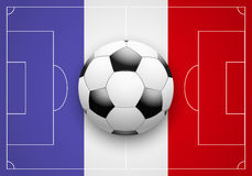 France Flag and Championship of football. Flag of France and ball on football field. Sport Championship of football 2016 Stock Images