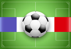 France Flag and Championship of football. Flag of France and football ball on soccer field. Sport Championship of football 2016 Stock Photo