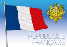 France flag with coat of arms Royalty Free Stock Image