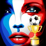 France Flag Girl Portrait Champions World Cup Royalty Free Stock Photo