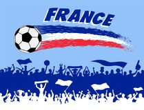 France flag colors with soccer ball and French supporters silhou. Ettes. All the objects, brush strokes and silhouettes are in different layers and the text Royalty Free Stock Photos