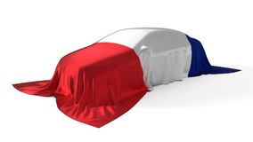 France flag covered car concept. 3d illustration. Suitable for any smart car,auto pilot or electric car concept Royalty Free Stock Photos
