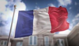 France Flag 3D Rendering on Blue Sky Building Background Royalty Free Stock Images