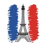 France flag with eiffel tower celebration vector illustration