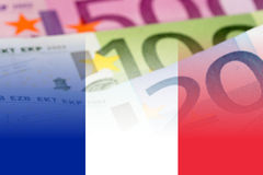 France flag with euro banknotes. Mixed image stock illustration
