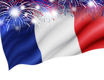 France flag with firework on white background. For bastille day Royalty Free Stock Photography