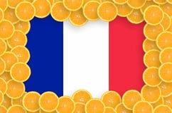 France flag in fresh citrus fruit slices frame royalty free stock photography