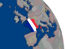 France with flag on globe Stock Images