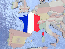France with flag on globe Royalty Free Stock Images