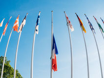 France Flag half-mast after UK attacks in Manchester, London. French France National Flag fly half-mast Council of Europe building memory of victims terrorist royalty free stock images