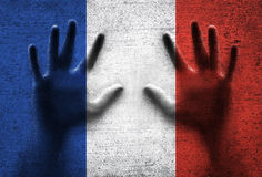 France flag with human hands Stock Photography