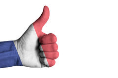 France flag on human male thumb up hand. France  flag on human male thumb up hand Stock Photo