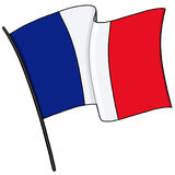 France flag illustration. France flag on a pole illustration Stock Photos