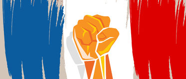 France flag independence painted brush stroke with hand fist fight patriotism Stock Photos