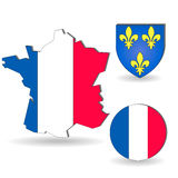 The France flag and map Stock Image