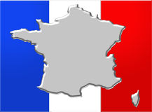 France flag with map Stock Photo
