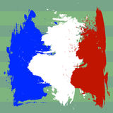 France flag over football field  illustration. French flag drawing picture, three color of french flag on soccer field Stock Photo