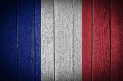 France flag. Painted on old wood plank background Royalty Free Stock Images