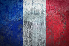 France Flag painted on a Wall. Ddistressed Painting of a Flag on an old Wall Royalty Free Stock Photos