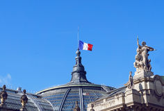 The France flag at the palace roof Stock Photos