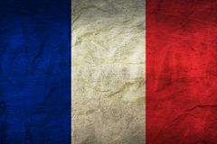 France Flag on Paper. Flag on an old Paper Texture Royalty Free Stock Photos