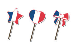 France flag pattern Lollipop candy collection Royalty Free Stock Image