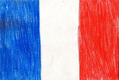 France flag, pencil drawing illustration kid style photo Royalty Free Stock Images