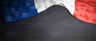 France flag placed on blackboard background with copyspace. 3d illustration. France flag placed on chalkboard background with copyspace. 3d illustration Stock Images