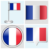 France flag - set of sticker, button, label. France flag - set of various sticker, button, label and flagstaff Royalty Free Stock Photo
