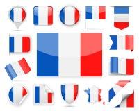 France Flag Vector Set. France Flag Set - Vector Illustration Stock Image