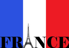 France Flag Silhouette. French flag with France and Eiffel Tower silhouette Stock Photography