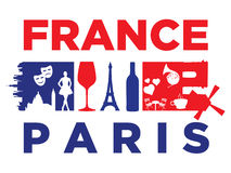 France flag and silhouette landmarks Royalty Free Stock Photos