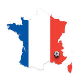 France flag soccer ball map background Stock Photo
