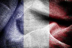 France flag. Texture of sackcloth with the image of France flag Royalty Free Stock Photography