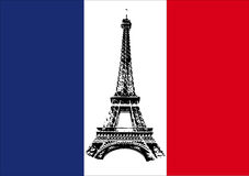 France flag with Tour Eiffel Royalty Free Stock Photo
