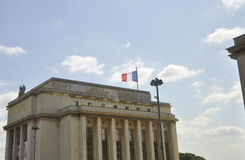 France flag on Trocadero building from Paris in France Stock Image