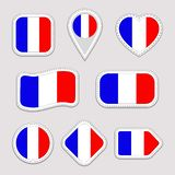 France flag vector set. French national flags stickers collection. Vector isolated geometric icons. Web, sports pages, patriotic, royalty free illustration