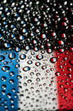 France flag. In water droplet reflection Royalty Free Stock Images