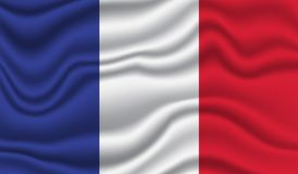 France Flag. Wavy and realistic France Flag isolated in white. realistic fabric effect Stock Photos