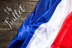 France Flag on wooden Background, concept 14th July Stock Photo