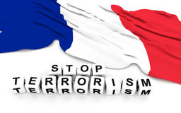 France flag and write stop terrorism Stock Photo